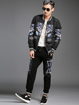 Ericdress Zip Two-Piece of Casual Print Men's Suit