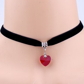 Ericdress Heart-Shaped Pendant Retro Velvet Necklace