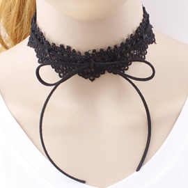 Ericdress Retro Bowknot Design Lace Necklace