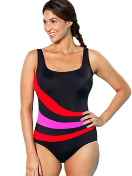 Ericdress Color Block Stripe Plus Size Monokini