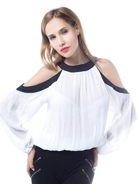 Ericdress Cold Shoulder Pleated Blouse
