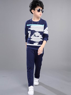 Ericdress Stripe O-Neck Long Sleeve Boys Outfit