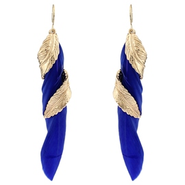 Ericdress Blue Feather Rotating Leaf Pendant Earrings