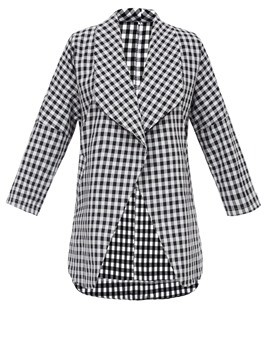 Ericdress Loose Wide-Lapel Plaid Trench Coat