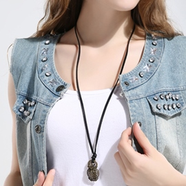 Ericdress Owl Pendant Retro Leather Necklace