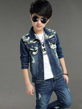 Ericdress Camouflage Patchwork 2-Pcs Denim Boys Outfit