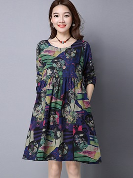 Ericdress Loose Print Pleated Patchwork Casual Dress