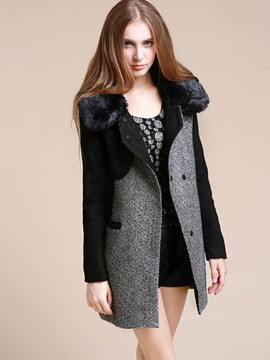 Ericdress Casual Color Block Straight European Coat