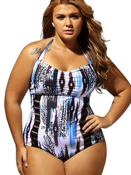 Ericdress Color Block Floral Halter Monokini (Plus Size Available)