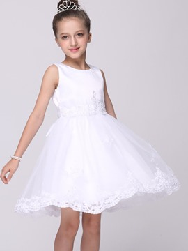 Ericdress White Lace Ball Gown Sleeveless Girls Dress
