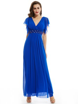 Ericdress V Neck Zipper-Up Cap Sleeves Beaded Long Evening Dress