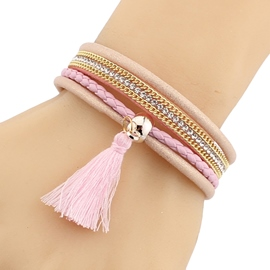 Ericdress Multilayer Pink Leather Women's Bracelet
