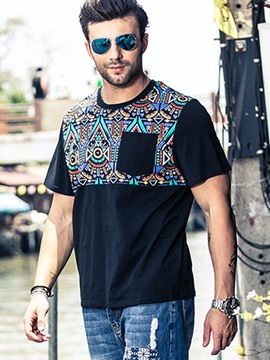 Ericdress Plus Size Ethnic Print Short Sleeve Men's T-Shirt