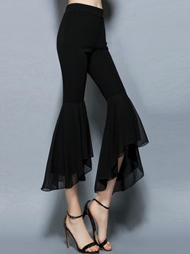 Ericdress Mid-Waist Chiffon Bellbottoms Pants