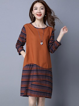 Ericdress Patchwork Hemming Asymmetric Pocket Casual Dress