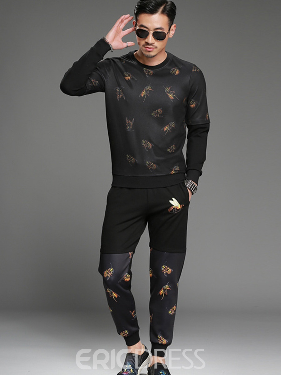 Ericdress Bee Print Patchwork Smart Casual Two-piece Of Mens Suit
