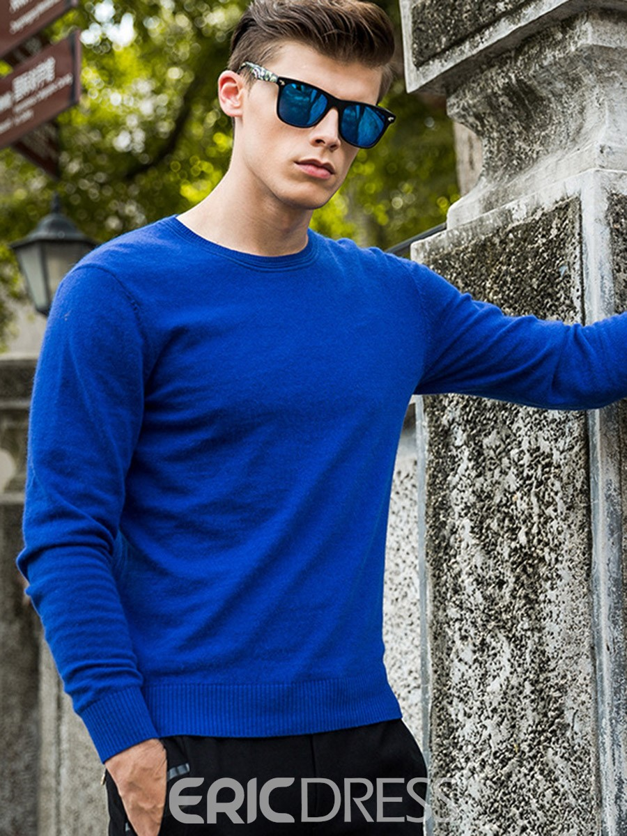 Ericdress Solid Color Pullover Mens Sweater