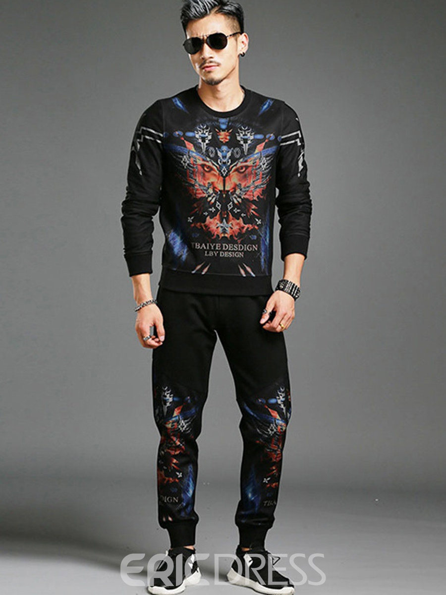 Ericdress Pullover Print Two-piece Of Vogue Mens Suit