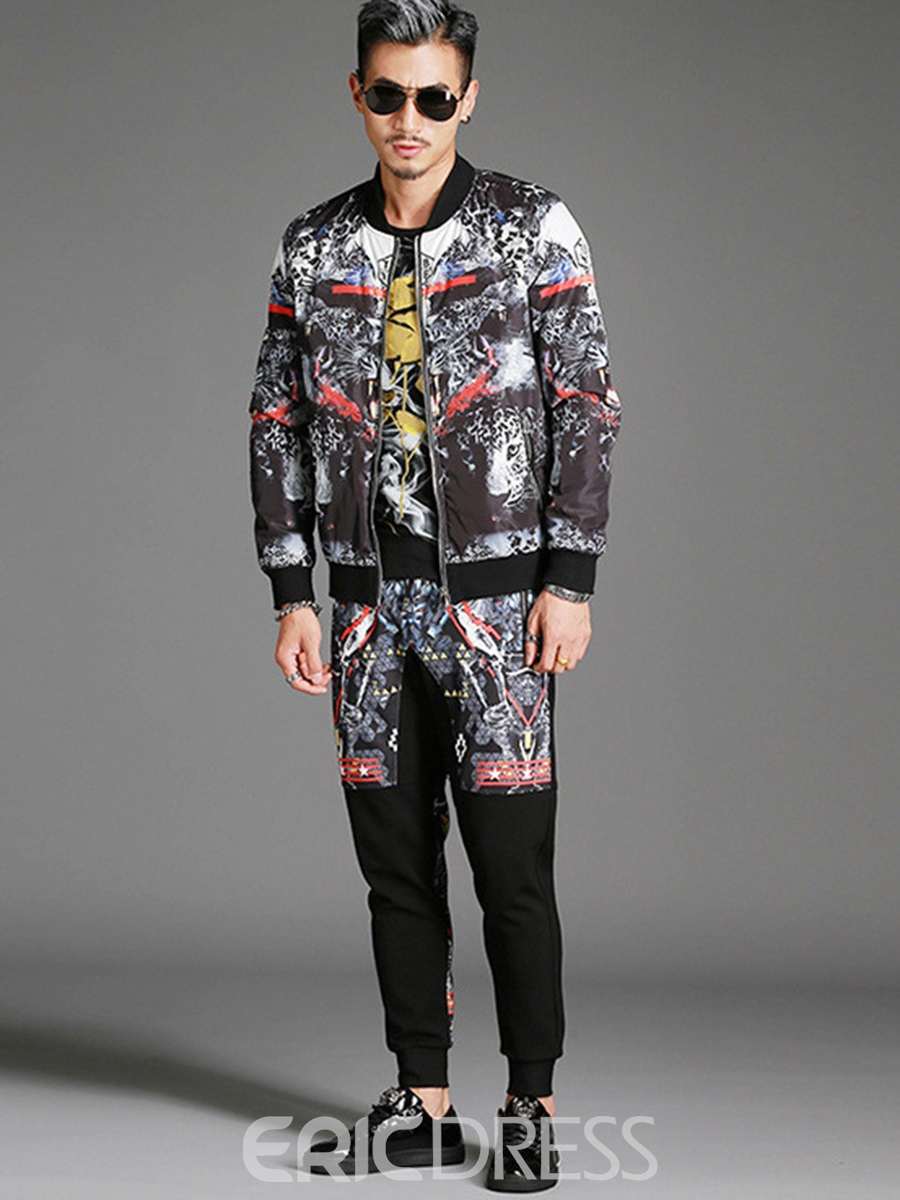 Ericdress Two-piece Of Print Casual Mens Suit