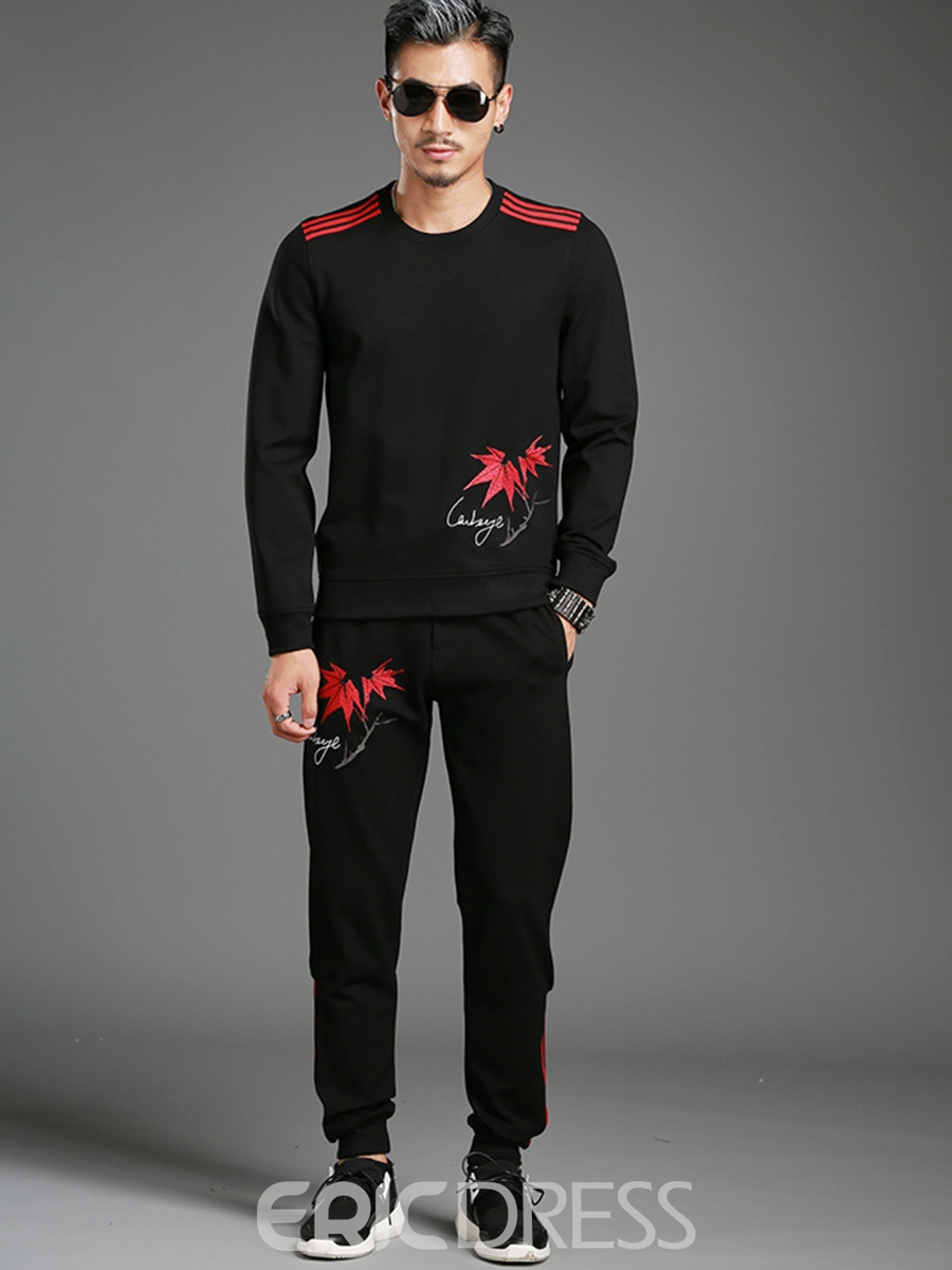Ericdress Long Sleeve Print Vogue Pullover Two-piece Of Mens Suit