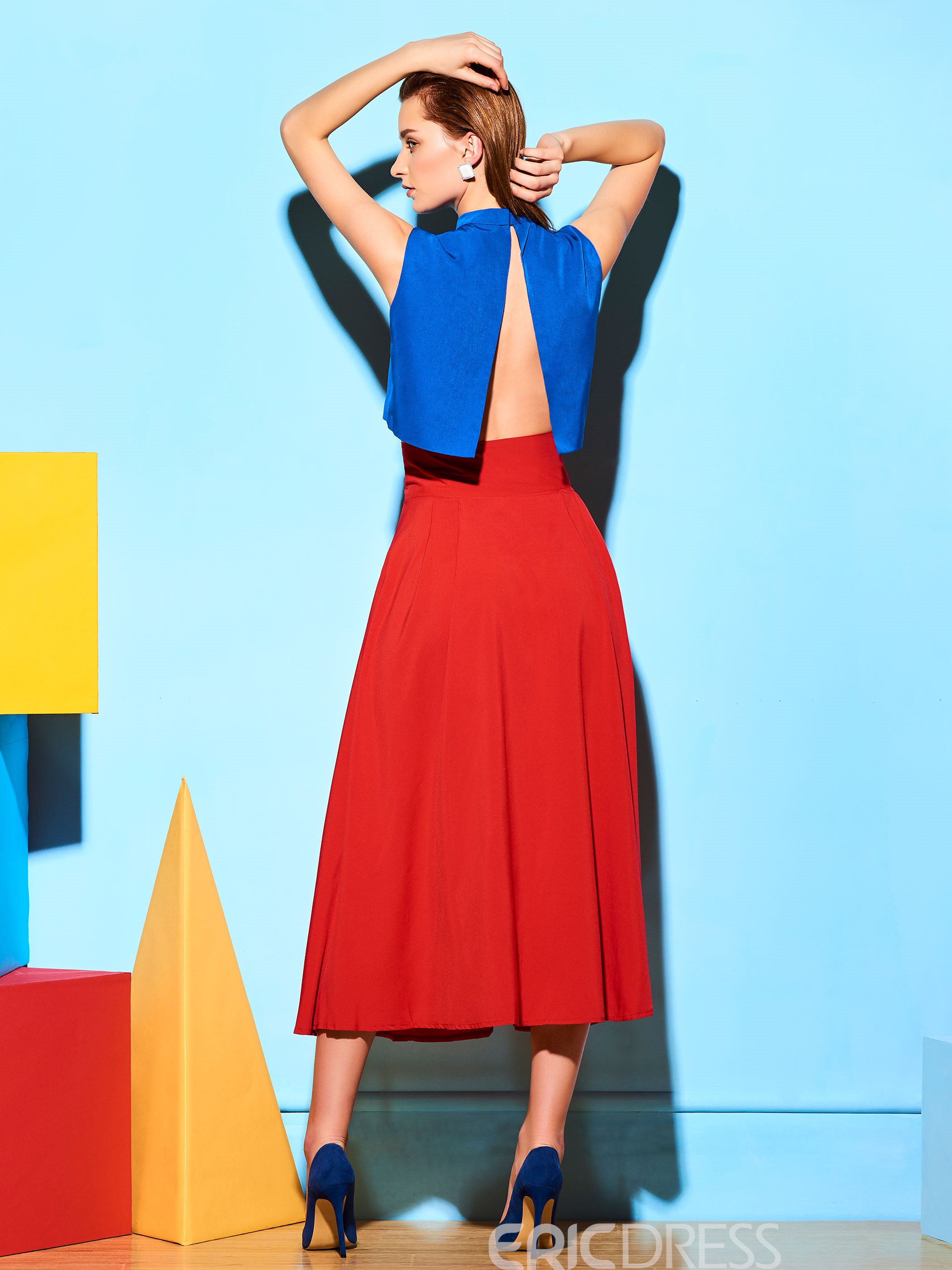 Ericdress Vintage Solid Color Usual Skirt