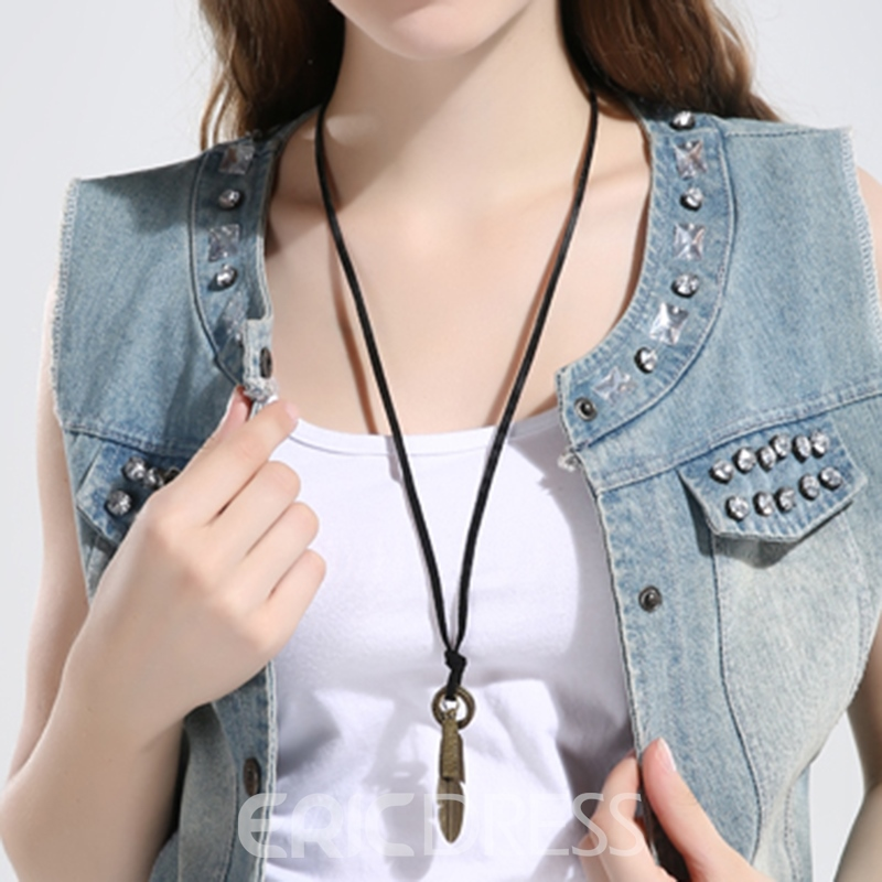 Ericdress Vintage Style Feather Pendant Long Necklace
