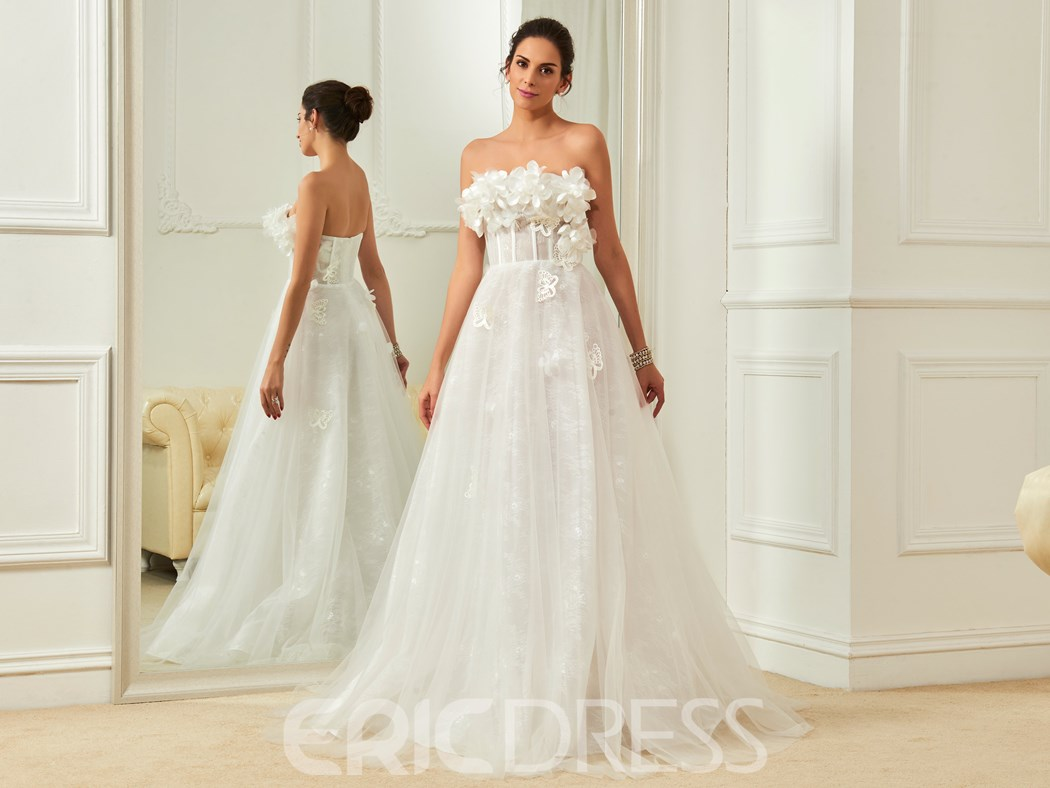 Ericdress Beautiful Flowers A Line Strapless Wedding Dress