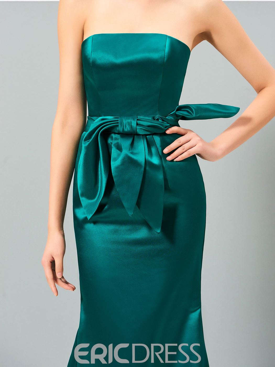 Ericdress Strapless Bowknot Mermaid Evening Dress With Court Train