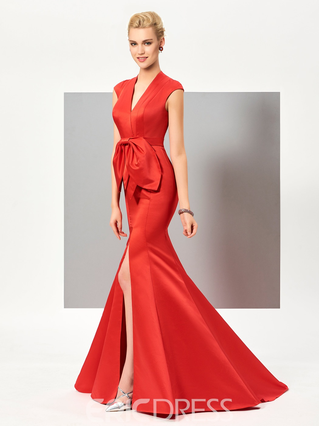 Ericdress Sexy Cap Sleeve Slit Front Mermaid Evening Dress