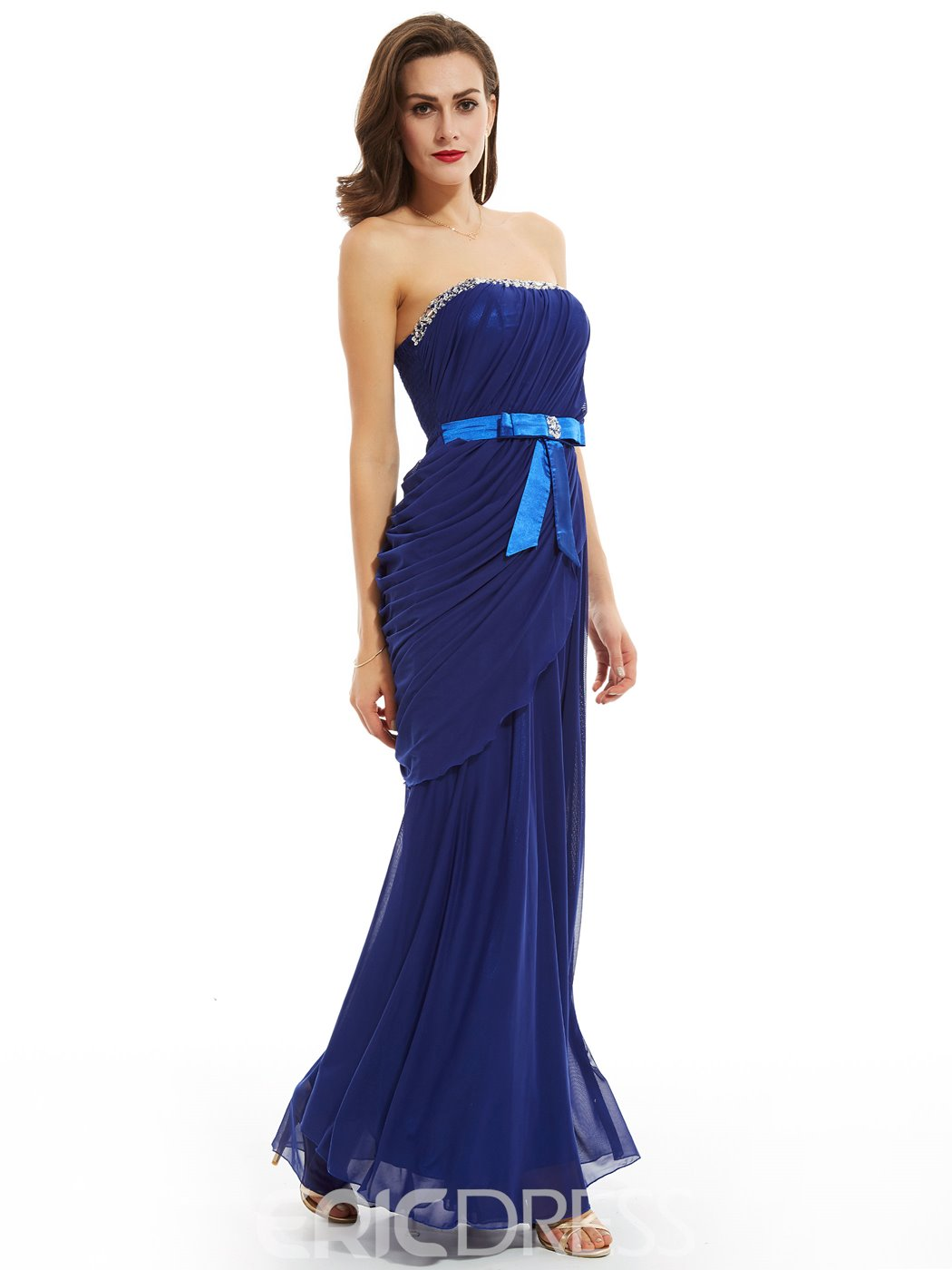 Ericdress Sheath Strapless Beaded Pleats Evening Dress