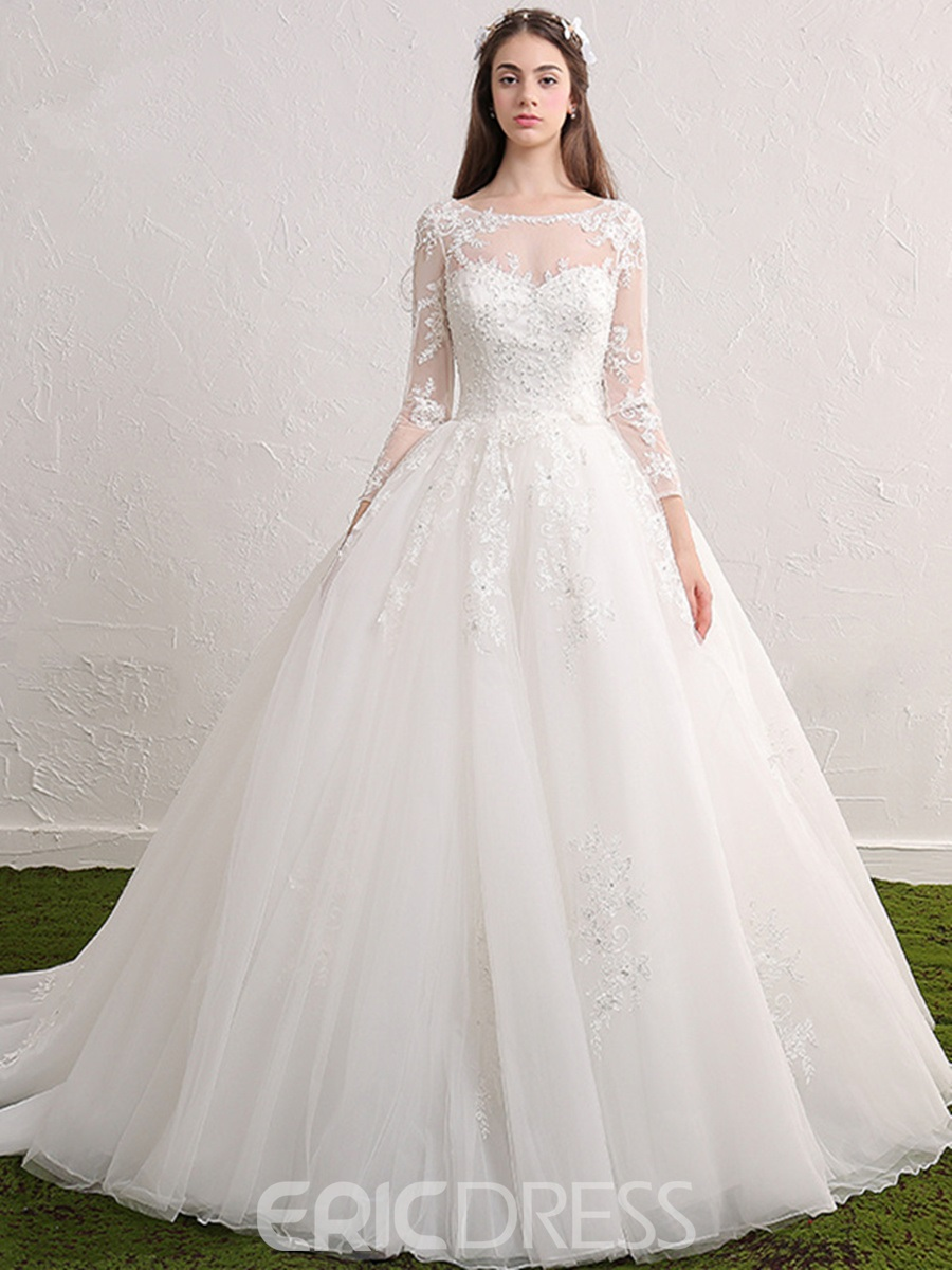 544a216b1cb Ericdress Beautiful Scoop Appliques Beaded Ball Gown Long Sleeves ...