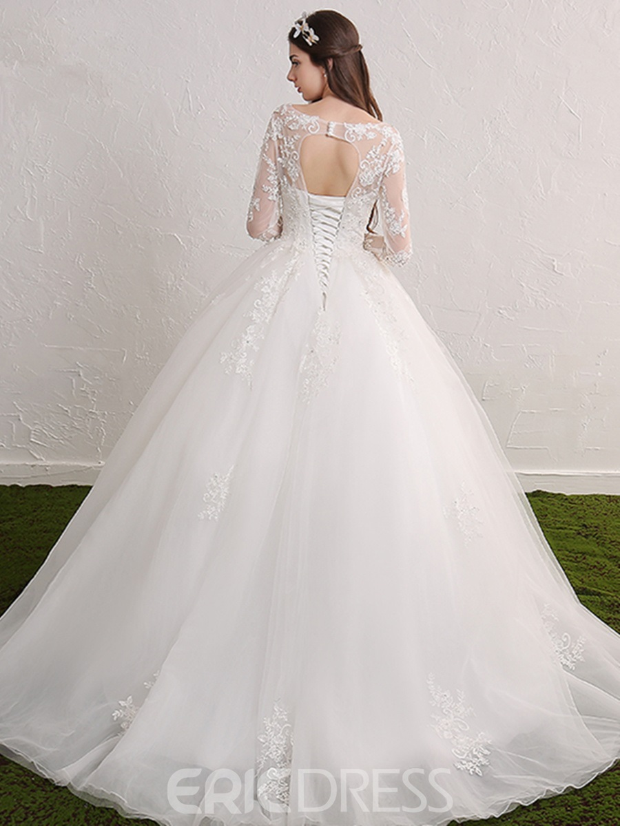 Ericdress Appliques Lace-Up Wedding Dress with Sleeves