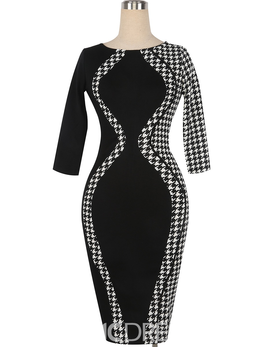 Ericdress Color Block Round Collar Platinum Plated Sheath Dress
