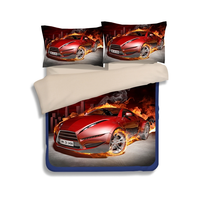 Vivilinen 3D Red Supercar Print 4-Piece Polyester Duvet Cover Sets