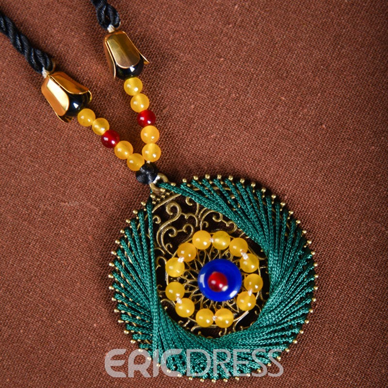 Ericdress Ethnic Style Imitation Jasper Pendant Necklace