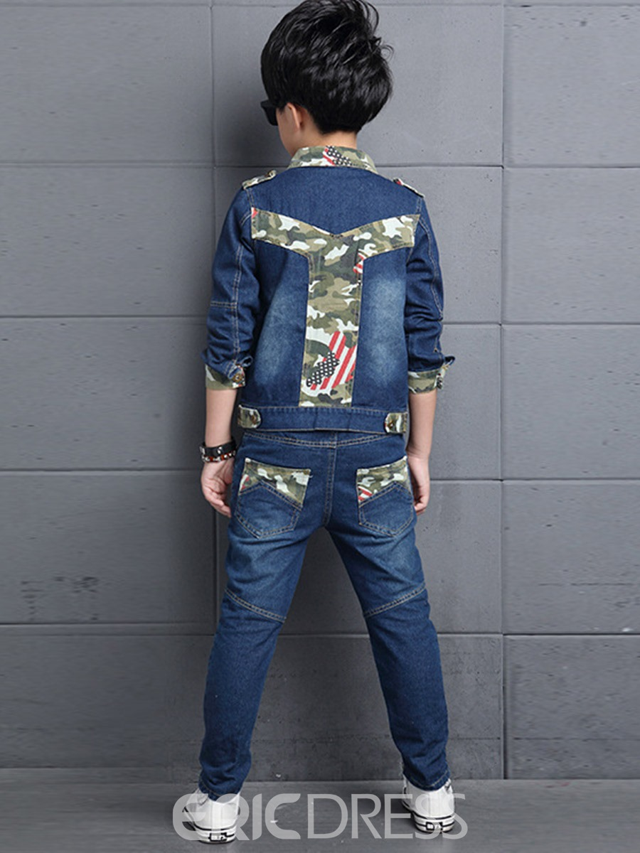 Ericdress Camouflage Patchwork T-Shirt 3-Pcs Denim Boys Outfit