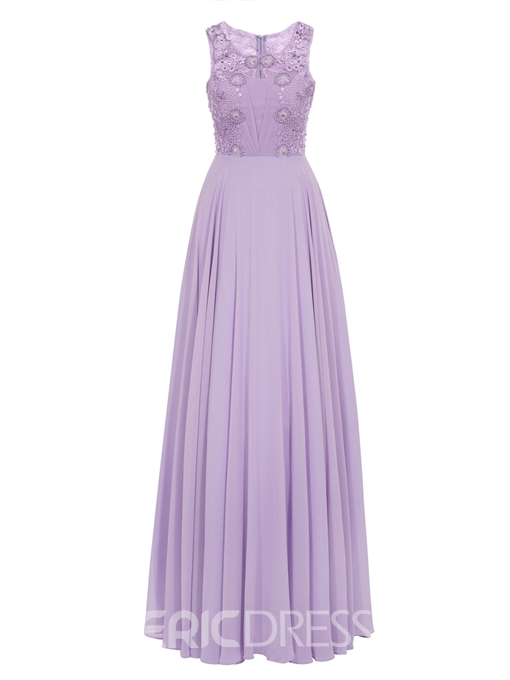 Ericdress Scoop Neck Line Lace Beaded Chiffon Ankle Length Prom Dress