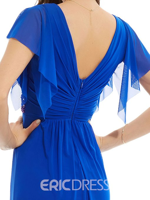 Ericdress V Neck Cap Sleeves Beaded Long Evening Dress