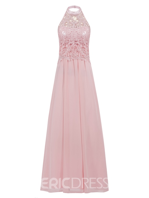 Ericdress A-Line Halter Lace Floor-Length Prom Dress