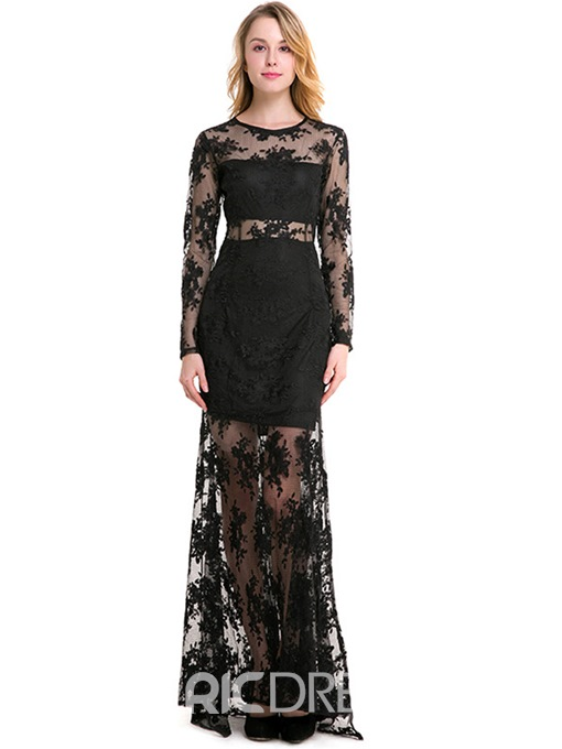Ericdress Floral Print See-Through Embroidery Maxi Dress