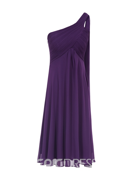 Ericdress One Shoulder Pleats Knee-Length Homecoming Dress