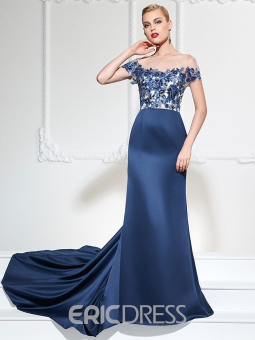 Ericdress Gorgeous A Line Off The Shoulder Applique Long Evening Dress