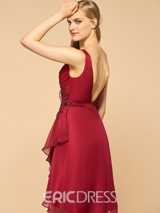 Ericdress Beautiful V Neck Backless Asymmetry Bridesmaid Dress