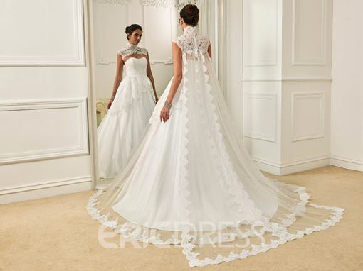 Ericdress Fashion High Neck Appliques A Line Wedding Dress