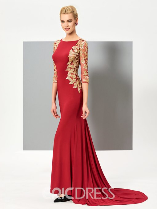 Ericdress 3/4 Sleeves Appliques MermaidEvening Dress With Court Train