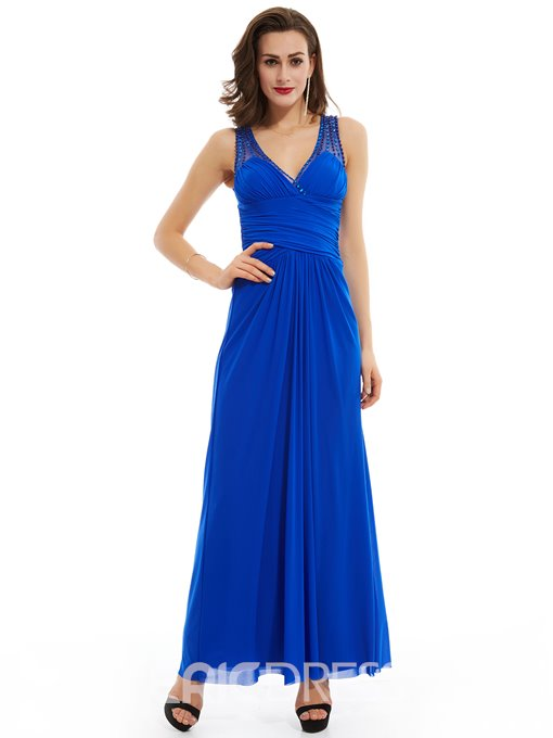 Ericdress A Line V Neck Beaded Pleats Long Evening Dress