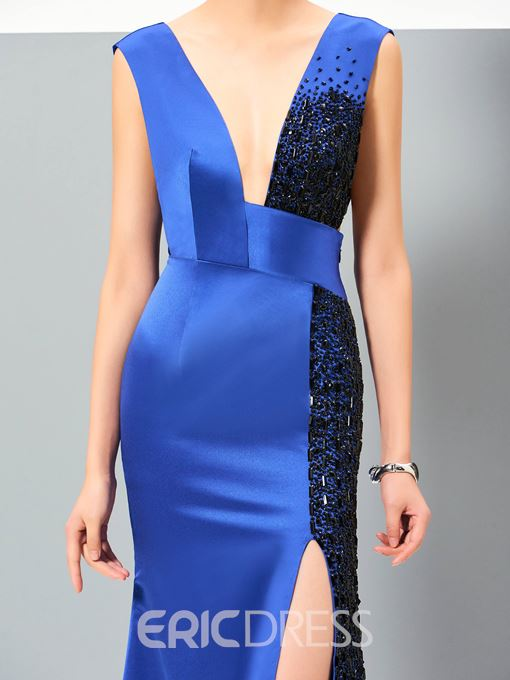 Ericdress Deep V Neck Slit Front Beaded Sheath Evening Dress
