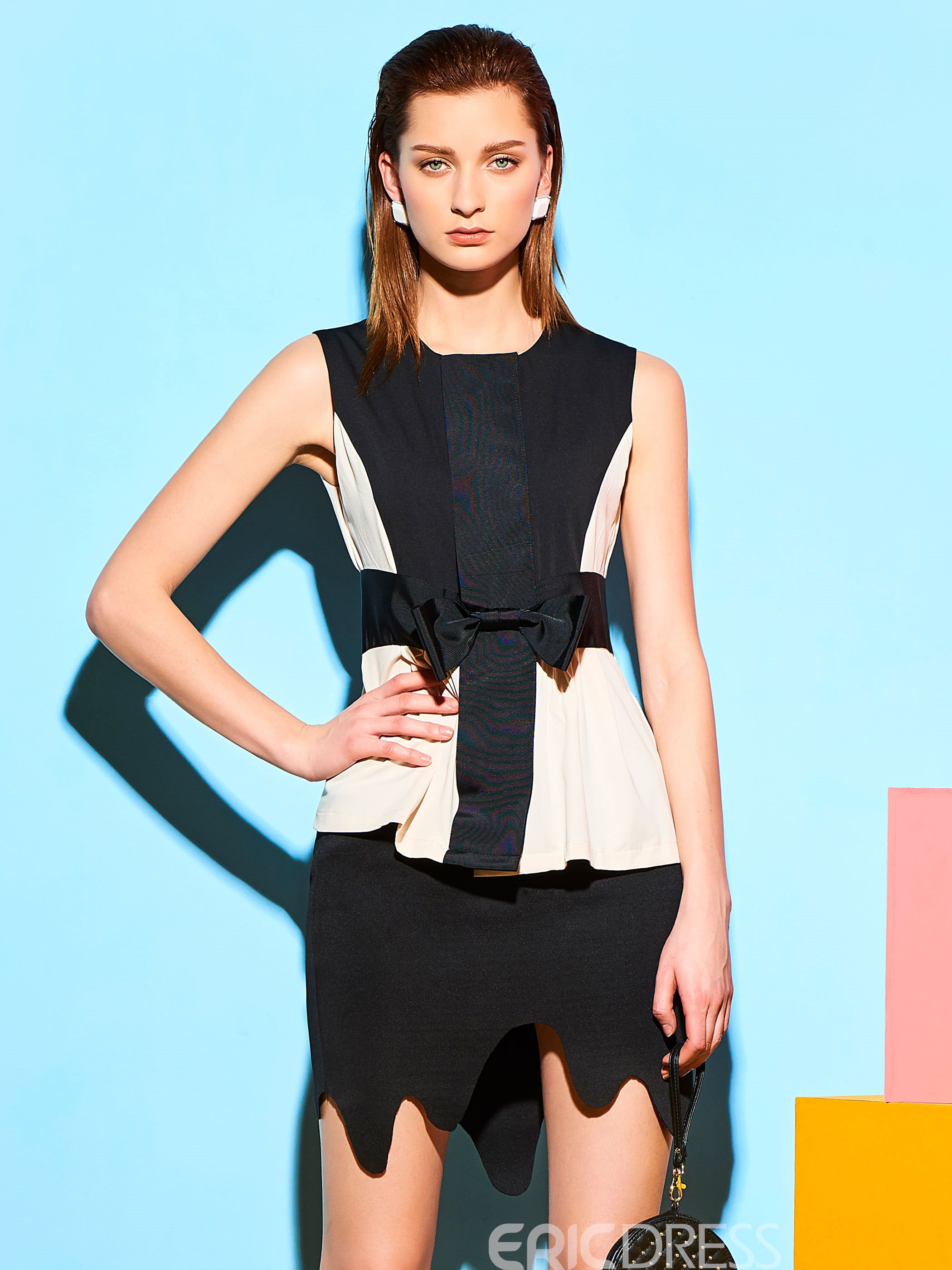 Ericdress Slim Color Block Chiffon Patchwork T-shirt
