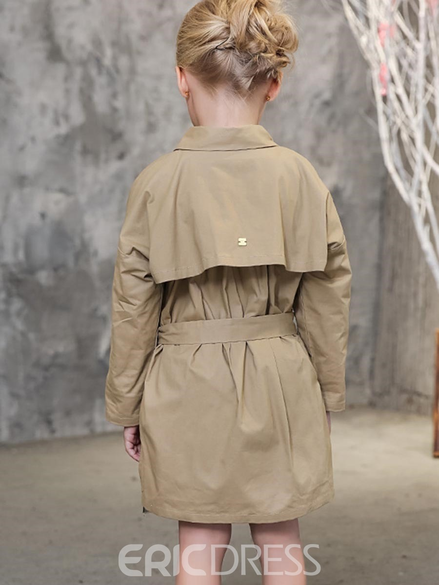 Ericdress Plain Single-Breasted Girls Trench Coat