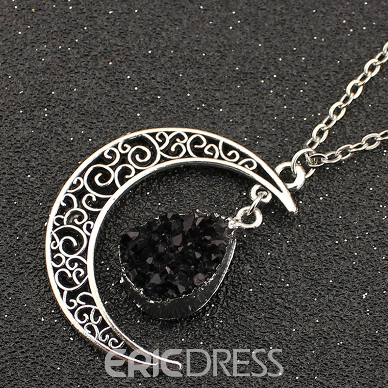 Ericdress Natural Stone Crescent Moon Pendant Necklace